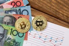 bitcoin och australiska dollar med grafer Royaltyfri Fotografi