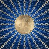 Bitcoin och blockchain royaltyfri bild