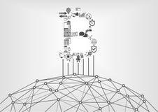 Bitcoin och blockchainsymbol med world wide web som symbolet för crypto valuta royaltyfri illustrationer
