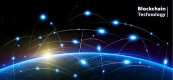 Bitcoin och blockchainteknologi ovanför planetjorden Royaltyfria Foton