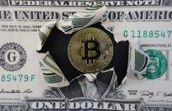 Bitcoin och dollar Arkivbild