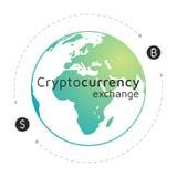 Bitcoin och dollarlogo Cryptocurrency utbyte EPS10 stock illustrationer