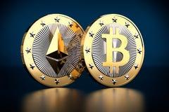 Bitcoin och Ethereum - faktiska pengar Royaltyfri Bild