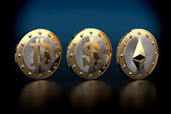 Bitcoin och Ethereum - faktiska pengar Royaltyfri Foto