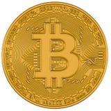 Bitcoin odosobnienia złocisty biel Zdjęcia Royalty Free