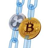 Bitcoin ondulación Cryptocurrency Blockchain El bitcoin y la plata de oro ondulan monedas con la cadena del wireframe 3D comproba ilustración del vector