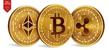 Bitcoin ondulación Ethereum monedas físicas isométricas 3D Moneda de Digitaces Cryptocurrency Monedas de oro con el bitcoin, ondu stock de ilustración
