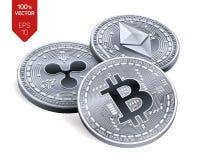 Bitcoin ondulación Ethereum monedas físicas isométricas 3D Moneda de Digitaces Cryptocurrency Monedas de plata con el bitcoin, on Imagen de archivo