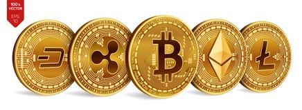 Bitcoin ondulation Ethereum dash Litecoin pièces de monnaie 3D physiques isométriques Crypto devise Pièces de monnaie d'or avec l Image libre de droits