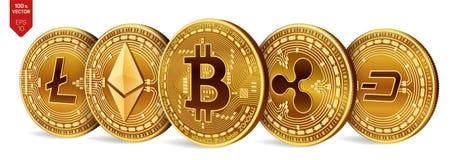 Bitcoin ondulation Ethereum dash Litecoin pièces de monnaie 3D physiques isométriques Crypto devise Pièces de monnaie d'or avec l Photographie stock