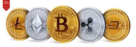 Bitcoin ondulation Ethereum dash Litecoin pièces de monnaie 3D physiques isométriques Crypto devise Pièces d'or et en argent avec Photographie stock