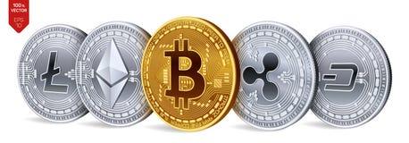 Bitcoin ondulation Ethereum dash Litecoin pièces de monnaie 3D physiques isométriques Crypto devise Pièces d'or et en argent avec Photo stock