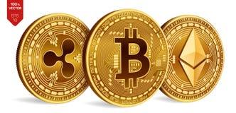 Bitcoin ondulation Ethereum pièces de monnaie 3D physiques isométriques Devise de Digital Cryptocurrency Pièces de monnaie d'or a Photos stock