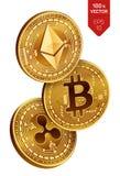 Bitcoin ondulation Ethereum pièces de monnaie 3D physiques isométriques Devise de Digital Cryptocurrency Pièces de monnaie d'or a Photographie stock libre de droits