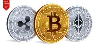 Bitcoin ondulazione Ethereum monete fisiche isometriche 3D Valuta di Digital Cryptocurrency Monete d'argento e dorate con Fotografie Stock