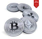 Bitcoin ondulazione Ethereum precipitare Litecoin monete fisiche isometriche 3D Valuta cripto Monete d'argento con bitcoin, ondul Fotografie Stock