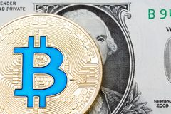 Bitcoin on one dollar banknote. Trading concept. High resolution photo Royalty Free Stock Photos