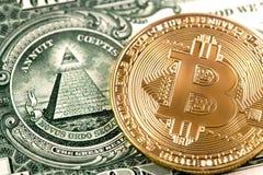 Bitcoin on one dollar Stock Photos