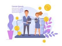 Bitcoin online-förtjänster Lönvektor cartoon Isolerad konst på vit bakgrund plant stock illustrationer
