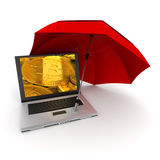 Bitcoin online safety. 3D rendering of a laptop with bitcoins on the screen, protected by an umbrella Stock Image