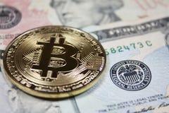 Bitcoin op de munt van Verenigde Staten Royalty-vrije Stock Afbeeldingen