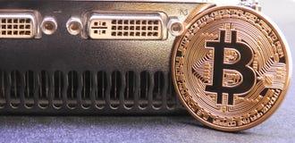 Bitcoin op grafiekverwerkingseenheid of GPU Stock Afbeeldingen