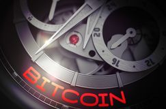 Bitcoin op het Mechanisme van het Luxezakhorloge 3d Royalty-vrije Stock Afbeeldingen