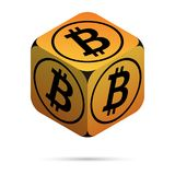 Bitcoin. Orange Bitcoin Cube. Isometric Cube with Black Bitcoin Sign on the Sides. Isolated Cubic Figure with Shadow on White background Royalty Free Stock Photo