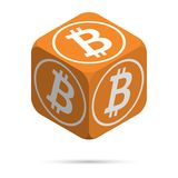 Bitcoin. Orange Bitcoin Cube. Isometric Cube with White Bitcoin Sign on the Sides. Isolated Cubic Figure with Shadow on White background Royalty Free Stock Images
