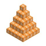 Bitcoin. Orange Large Bitcoin Pyramid. Isometric Pyramid consisting of Cubes with White Bitcoin Sign on the Sides. Isolated Cubic Figure on White background Royalty Free Stock Images