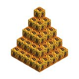 Bitcoin. Orange Large Bitcoin Pyramid. Isometric Pyramid consisting of Cubes with Black Bitcoin Sign on the Sides. Isolated Cubic Figure on White background Royalty Free Stock Images