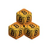 Bitcoin. Orange Small Bitcoin Pyramid. Isometric Pyramid consisting of Cubes with Black Bitcoin Sign on the Sides. Isolated Cubic Figure on White background Stock Photos