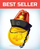 Bitcoin in orean hat. Bitcoin. Digital currency. Crypto currency. Money and finance symbol. Miner bit coin Royalty Free Stock Image