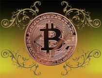 Bitcoin with ornaments Stock Photography