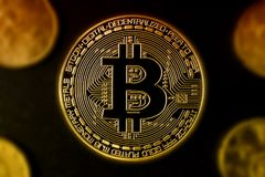 Bitcoin and other coins. Bi-color effect - payment concept Royalty Free Stock Images