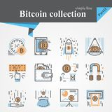 Bitcoin outline and flat icon set isolated. On a white background.Modern of thin line and flat icons collection .Linear trendy symbols set.Premium Stock Image