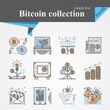 Bitcoin outline and flat trendy icon set isolated. On a white background.Modern of thin line and flat icons collection .Linear trendy symbols set.Premium Royalty Free Stock Images