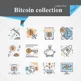 Bitcoin outline and flat trendy icon set. Isolated on a white background.Modern of thin line and flat icons collection .Linear trendy symbols set.Premium Stock Photo