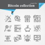 Bitcoin outline icon set. Isolated on a white background.Modern of thin line and flat icons collection .Linear trendy symbols set.Premium qualityCryptocurrency Stock Images