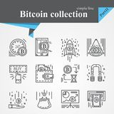 Bitcoin outline icon set. Isolated on a white background.Modern of thin line and flat icons collection .Linear trendy symbols set.Premium qualityCryptocurrency Royalty Free Stock Image