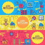 Bitcoin outline icons collection set. Modern technologies linear symbol pack. Template of thin line icons, logo, symbols. Bitcoin  outline icons collection set stock illustration