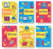 Bitcoin outline icons collection set. Modern technologies linear symbol pack. Template of thin line icons, logo, symbols. Bitcoin  outline icons collection set royalty free illustration