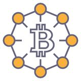 Bitcoin outline symbol. Dark symbol of bitcoin isolated on white background with blockchain Stock Photo