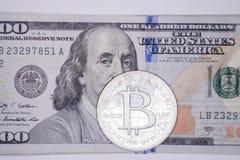 Bitcoin på hundra Royaltyfria Bilder