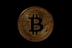Bitcoin på svart bakgrund Royaltyfria Bilder