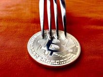 Bitcoin på tabellen Arkivbild