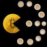 Bitcoin pacman shape eating euro coins symbol on black. Bitcoin pacman shape eating euro coins forming symbol isolated on black background. Bitcoin royalty free stock photo
