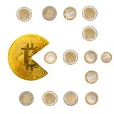 Bitcoin pacman shape eating euro money coins isolated on white. Bitcoin pacman shape eating euro coins isolated on white. Bitcoin cryptocurrency banking money stock images