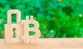 Bitcoin and padlock. The concept of crypto currency. Implementation of a blockchain databases in the information and communication royalty free stock image