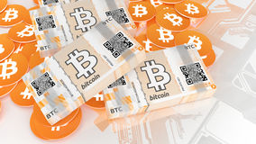 Bitcoin paper wallet notes and coins Royalty Free Stock Photos